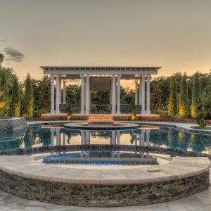 lighted pool and pergola for retired NFL IL Curtis Lofton