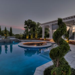 Retired NFL IL Curtis Lofton's lighted pool landscaping