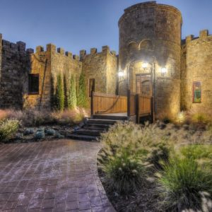 OKC castle home nelson landscaping lighting project