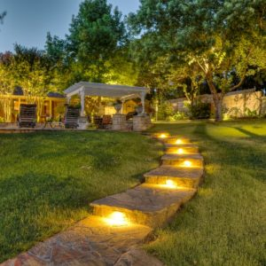 nelson landscaping lighting and hardscaping walkway project