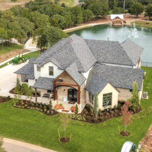 Arial view of house landscaping
