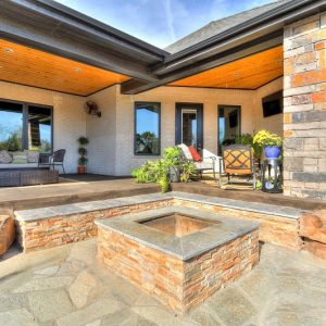 nelson landscaping backyard firepit and flagstone patio