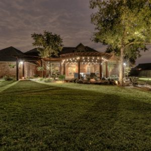 Moore OK night time landscaping