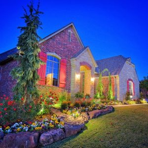 Residential Home Lighting and Flower Bed Landscaping