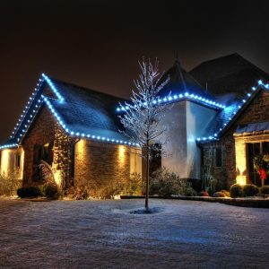 nelson landscaping blue Christmas lighting project