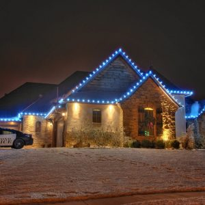 OKC Blue colored Christmas lighting Service by Nelson Landscaping