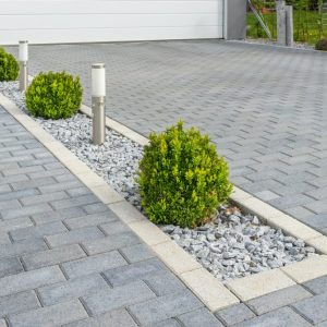 paver driveway and lights