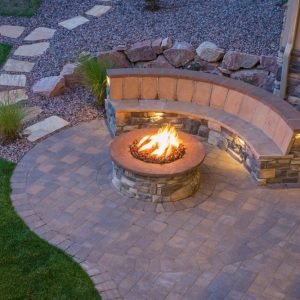custom outdoor firepit by Nelson Landscaping