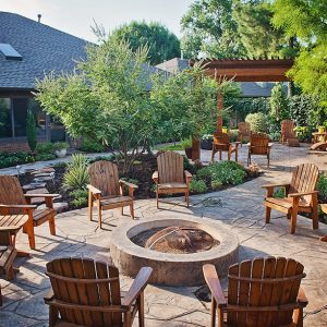 Outdoor Living with Fire Pit, Landscaping, & Walkway