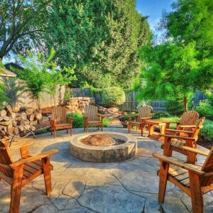 Outdoor Living with Fire Pit & Landscaping