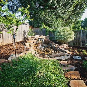 Backyard Water Feature with Landscaping & Paths