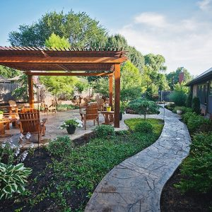 Outdoor Living with Pergola, Landscaping & Walkway