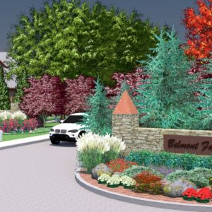 Neighborhood Entrance Landscape Design Rendering