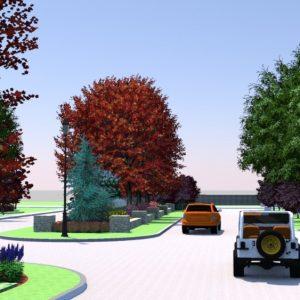 Neighborhood Entrance Landscape Design Rendering