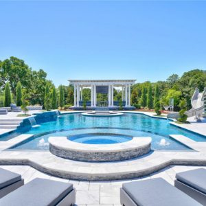 former Atlanta Falcons IL Curtis Lofton's OKC Custom Pool with Pergola and Landscaping