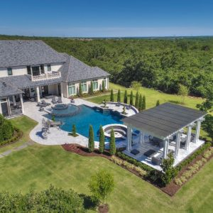 Pool Landscaping Arial view of NFL IL Curtis Lofton's house landscaped by Nelson Landscaping