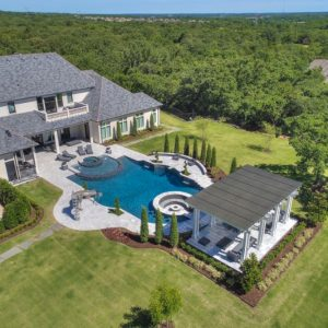 Pool Landscaping Arial View of retired NFL IL Curtis Lofton's home in Oklahoma