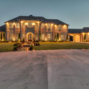 Oklahoma City Mansions Outdoor Lighting by Nelson Landscaping for retired NFL IL Curtis Lofton