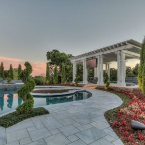 Pool Landscaping at Sunset