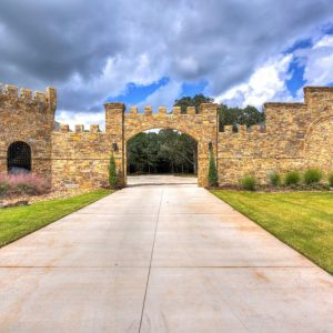 Oklahoma castle house driveway landscaping