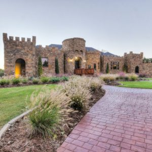 Front Entrance Landscaping & Hardscaping leading to Oklahoma castle house