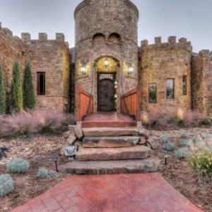 Oklahoma castle house Front Entrance Landscaping & Hardscaping