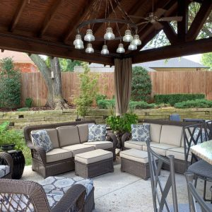 Outdoor Living Seating area under Pavilion designed for The Magic Man Jeff Roberts from KMGL Magic 104.1 radio