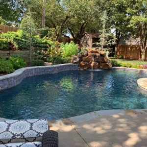 Nelson Landscaping pool with waterfall designed for The Magic Man Jeff Roberts from KMGL Magic 104.1 radio