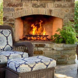 Nelson Landscaping built outdoor fireplace