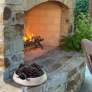 Custom Outdoor Fireplace by Nelson Landscaping in Oklahoma City