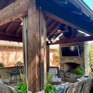 Electrical wiring for TV, lighting and fans for outdoor pavilion