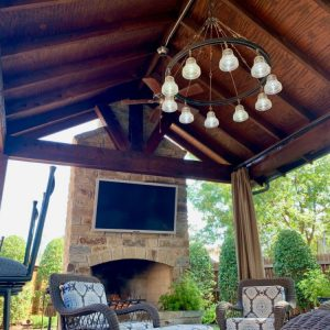 Custom Designed Pavilion with Seating area and overhead lighting