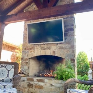 Outdoor Fireplace and Pavilion with big screen TV for entertaining