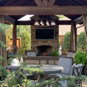 Custom Pavilion and Outdoor Fireplace designed for The Magic Man Jeff Roberts from KMGL radio