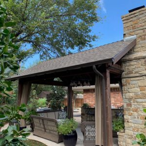 Stone Pavilion with Fireplace