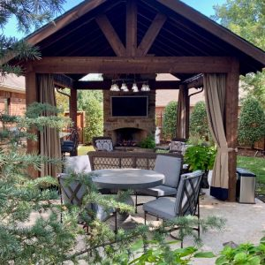Custom Pavilion and Outdoor Fireplace and Seating Area