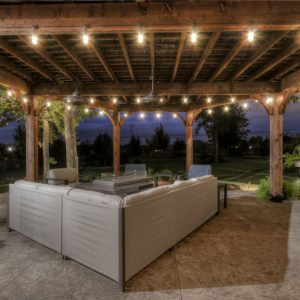 Lighted Backyard Outdoor Living Space