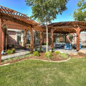 Backyard Patio with Custom-Built Pergola