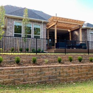 Stone retaining wall and landscaping project in OKC