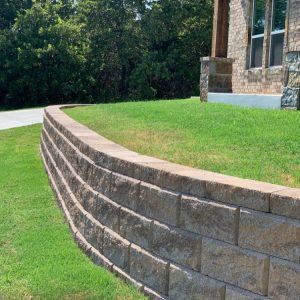 Retaining wall project creating two level to entry of home in Edmond OK