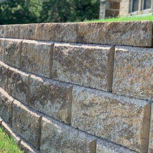 Super up close look at big stone block retaining wall