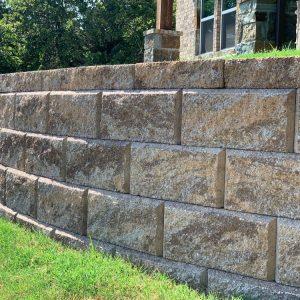 Stone block retaining wall close up