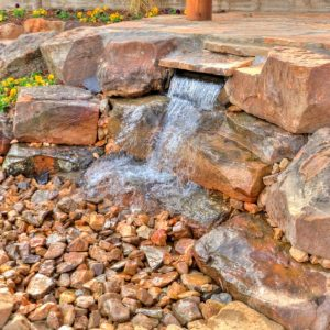 Backyard Water Feature with Landscaping