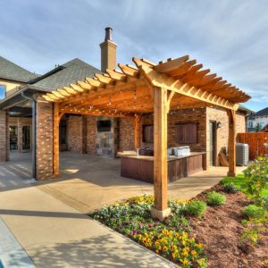 classic landscape design with Backyard Pergola with Outdoor Kitchen