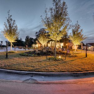Lighted Neighborhood Community Front Entrance Roundabout Landscaping