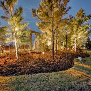 Lighted Nighttime Neighborhood Community Front Entrance Roundabout Landscaping