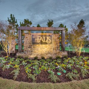 The Falls Neighborhood Community Entrance with Landscaping & Water Feature