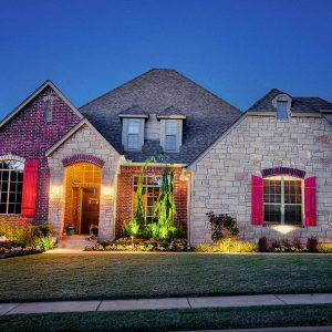 Littlejohn House with Front Yard Landscape Lighting