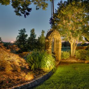 Archway Hardscape with Landscape Lighting