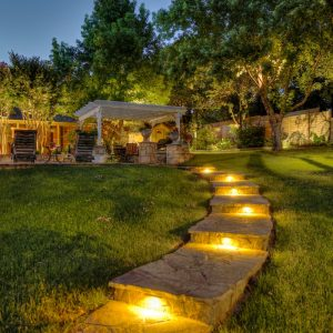 Backyard Landscaping with Lighting